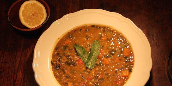 Swiss chard, lentil and squash soup