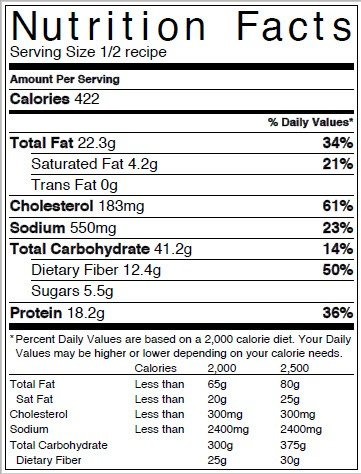 chickpea nutrition label
