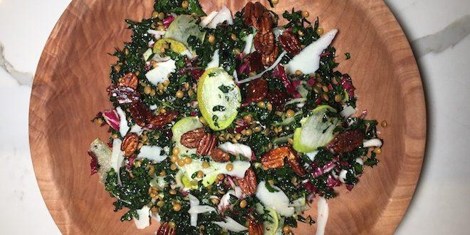 kale lentil radicchio salad