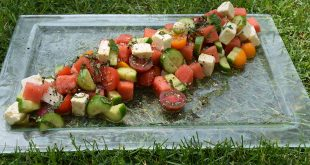 WATERMELON, FETA, TOMATO AND CUCUMBER SALAD