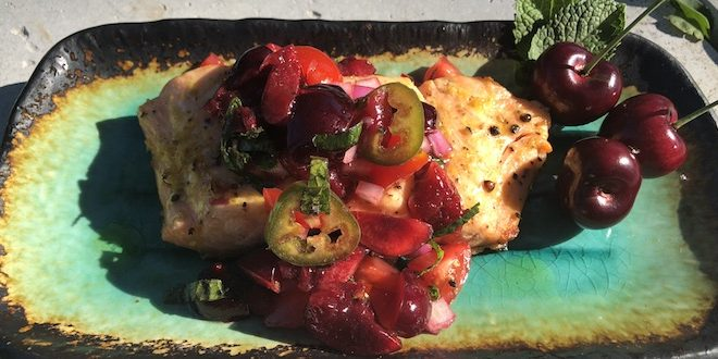 grilled salmon cherry salsa
