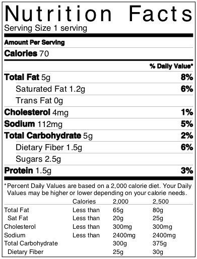 nutrition label greek salad