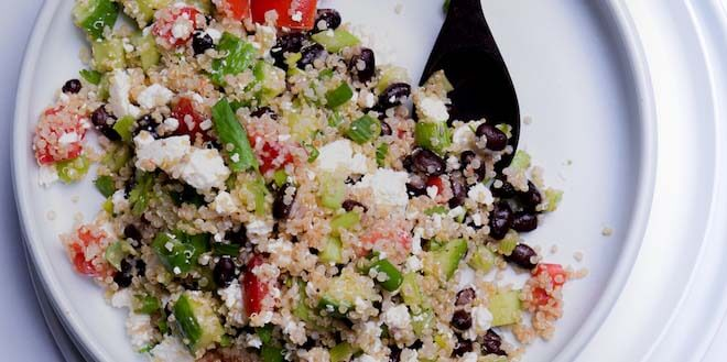 Veg and side feature Quinoa-and-Black-Bean-Salad